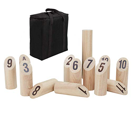 Patioline Rubberwood Number Viking Kubb Set  Outdoor Wooden Throwing Game Giant Yard Lawn Game for Adults Family