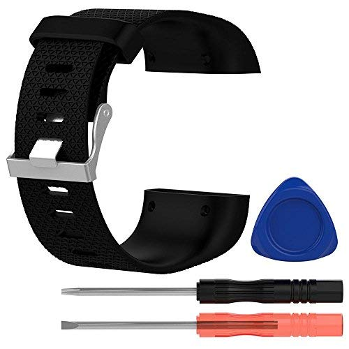 KOBWA Ersatzband for Fitbit Surge, Silikon Armband with Metall-Spange and 3 STK Werkzeuge for Fitbit Surge (Schwarz, L)