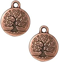 TierraCast Copper Plated Pewter Round Tree Of Life Charm 19mm (1)