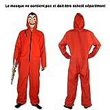 Urben Life Combinaison Rouge Costume -Déguisement Combinaison Rouge Voleur Adulte Costume Complet Parfait pour S'habiller comme(Ne Contient Pas de Masque)