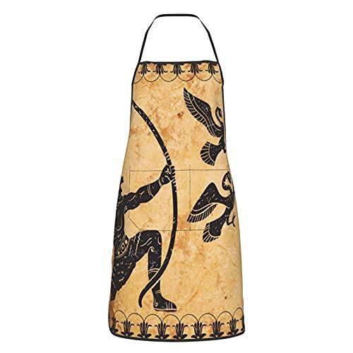 Delantal de cocina para mujeres y hombres con bolsillos Grecia antigua Hércules Mural Delantales Chef Cocinar Hornear Jardinería Barbacoa Parrilla Pintura Negro
