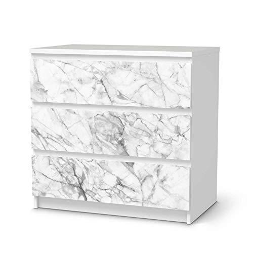 creatisto Wandtattoo Möbel passend für IKEA Malm Kommode 3 Schubladen I Möbelaufkleber - Möbel-Tattoo Sticker Aufkleber I Wohnen und Dekorieren für Wohnzimmer und Schlafzimmer - Design: Marmor weiß