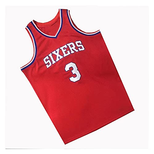 LIPENG NBA Jersey Mitchell Ness Allen Iverson # 3 Filadelfia 76ers Black Mesh Swingman Basketball Jersey Swingman Vintage Malla Bordada Jersey (Color : Vintage Red, Size : L)