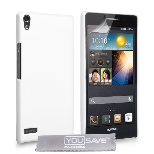 Yousave Accessories Kompatibel Für Huawei Ascend P6 Tasche Weiß Harte Hybride Hülle