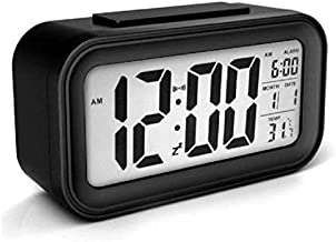 Piesome Digital Alarm Clock for Home Bedroom with Smart Automatic Sensor Backlight LCD Screen,Date & Temperature for Students Desk Table (Black)