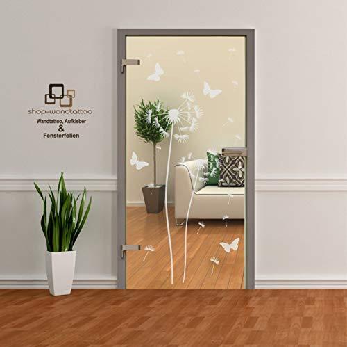 rs-interhandel® Pusteblume als Aufkleber Glasdekor Glastür Tür Aufkleber Fensterfolie Wohnzimmer
