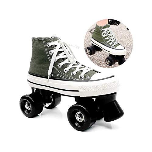 ZXSZX Zapatos Rodantes con 4 Rollos Patines De Lienzo Scooter Patines con Doble Fila High Sneaker Style Style Damas and Girls, Grün-35