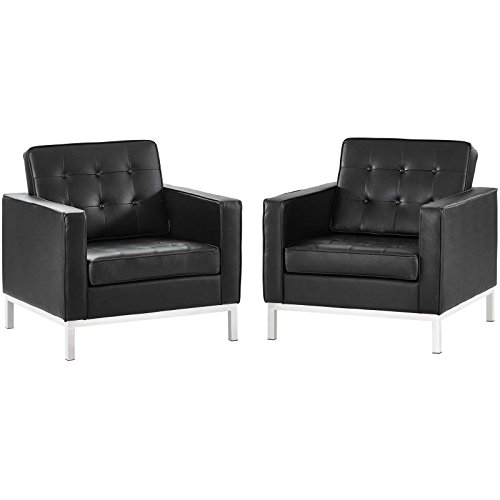 America Luxury - Chairs Modern Contemporary Living Lounge Lobby Armchair Accent Chair, Set of Two, Genuine Leather, Black