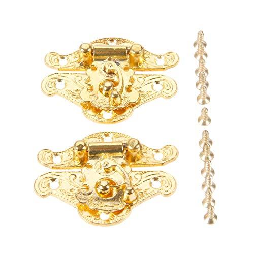 Zouzou armarios Bisagras 2 unids 38 * 49mm Caja Latch HABSP Lock Chock LACKES Fuertes Hardware para la Caja de joyería Maleta Maleta Hebilla Clip Cierre de Oro Puertas y Muebles Bisagras