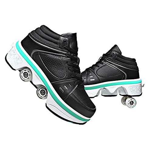 XWZH Invisible De Polea De Zapatos Zapatos 2 En 1 Multiusos niños Zapatos con Ruedas Doble Rodillo Zapatos De Skate Zapatos Automática Calzado de Skateboarding 古黑色,38