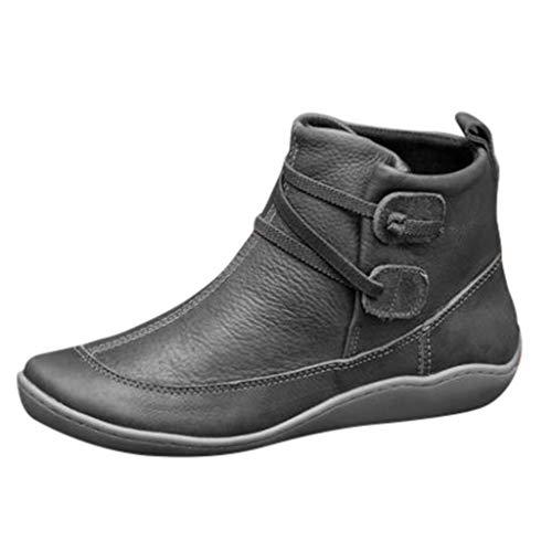 Posional del Zapato - Botines de Tobillo Cuero Vintage para Muejr Botas Impermeables Planos Invierno con Punta Redonda Zapatos de Jovencita Cuña Tacón Brogue Waterproof Boots
