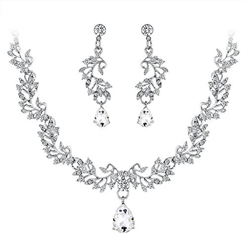 CareMont Nuevos Conjuntos de Joyas de Boda para Mujeres Encantadoras Accesorios Conjunto de Pendientes de Collar de Cristal de Cristal de Diamantes de ImitacióN