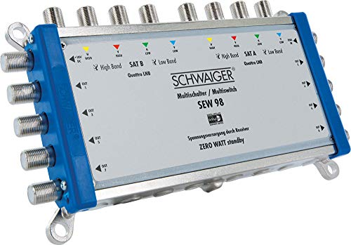 SCHWAIGER -5217- Multischalter 9 -> 8 / Verteilt 2 SAT-Signale auf 8 Teilnehmer/SAT-Verteiler/SAT-Splitter mit externem Netzteil/digital Multiswitch/in Kombination mit einem Quattro LNB