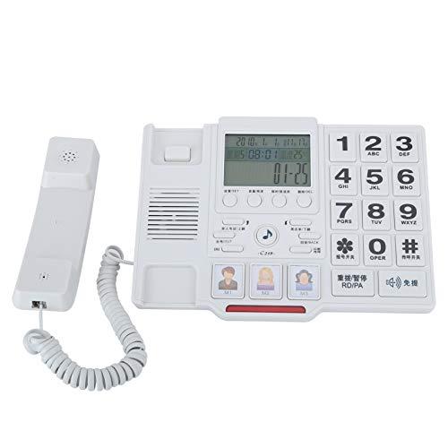 Exliy C219 Teléfono Fijo Fijo con función FSK/DTMF Pantalla LCD Configuración del número de teléfono Teléfono de Llamada con luz de Fondo para Oficina en casa