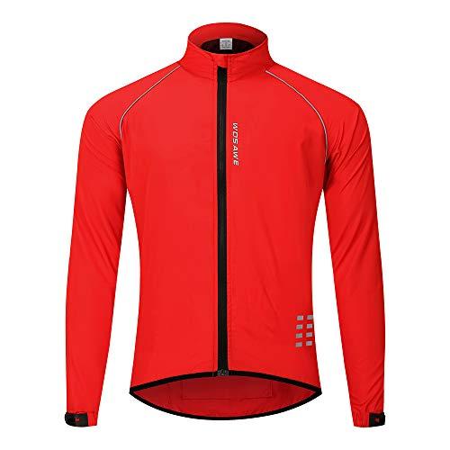 WOSAWE Herren-Fahrradjacke, Winddichte Radjacke Ultraleichte Sportbekleidung mit Reflektierendem Träger und Atmungsaktivem Mesh (Rot L)