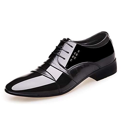 Scarpe classiche da uomo Oxford Oxford per uomo Business Mocassini con decorazione in metallo in vernice con punta a punta in pelle Oxford resistente all'abrasione da uomo
