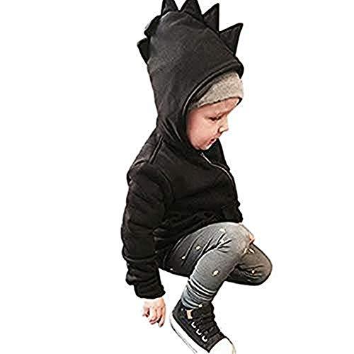 URSING Baby Jungen Mädchen Dinosaurier Muster Reißverschlussjacke Unisex drucken Kapuzenmantel Oberbekleidung Kapuzenjacke Zip-Hoodie Sweatjacke Kapuzenpullover Langarm Strickjacke (140cm, Black)