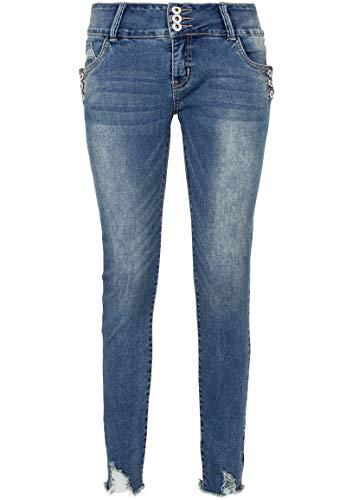 Sublevel Damen Skinny Stretch-Jeans mit Knopfdetail & Destroyed Parts Blue S