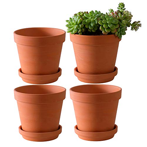 Yishang Large Terra Cotta Pots with Saucer- 4 Pack Large 6'' Terra Cotta Plant Pot with Drainage Hole, Flower Pot with Tray, Terracotta Pot for Indoor Outdoor Plant