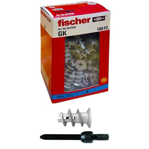 Fischer, 542458, 100 Tasselli GK, Specifici per Cartongesso, Include Accessorio di Montaggio