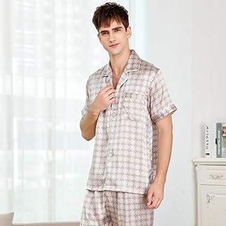 Pajamas Silk Pajamas Men Suit Short-sleeved Two-piece Sleepwear Summer Spring Bottoms Solid Color JFCUICAN (Color : Gold, ...