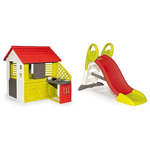 Smoby Nature II - Casa Infantil con Cocina y Accesorios, Color Verde (810713) + Tobogán KS, Color Rojo (310262)