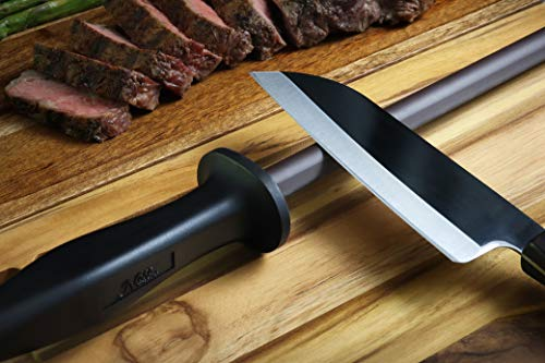 Professional 11.5 Inch Ceramic Honing Rod Has 2 Grit Options, a Firm-Grip Handle, Hanging Ring, and Japanese Ceramic. Noble Home & Chef Sharpening Rods are Perfect for Chefs! (Black, 2000/3000 Grit)