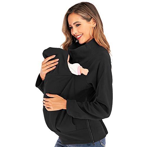 DNJKH Mama Porte-bébé, 3 en 1 Maternité Polaire Manteau Portage, Sweat-Shirt pour Allaitement,Noir,S