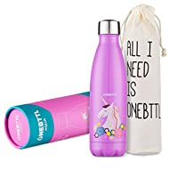 Unicorn Stainless Steel Water Bottle, Kids Water bottle 17oz/500ml Double Wall Vacuum Insulated Thermo Bottle for Unicorn Party and Birthdays- Unicorn Party Supplies - Onebttl Aqua UnicornPower