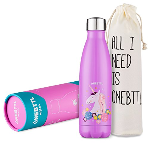 Onebttl Tazza Unicorno Rosa, Unicorno Kawaii, Unicorno Oggetti, Bottiglia d'Acqua Unicorn per Compleanno, Borraccia per Bambini, Bottiglia Termica Bambini, Bottigli d'Acqua in Acciaio inox-500ml Aqua