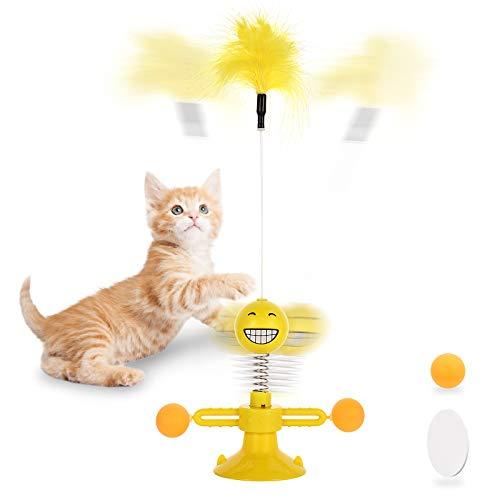 NINECY Windmühle Katzenspielzeug, Interaktives Katzenspielzeug Plattenspieler Katzenspielzeuge mit Feder/Ball, Federspielzeug Katze Drehbare Katzen Spielezeug mit Saugnapf und Klebepad