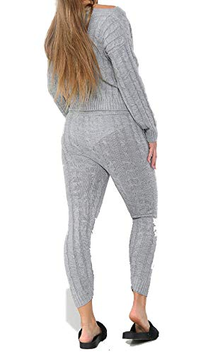 celebmodelook QS43 Lounge wear Womens Set 2 Piece Co ord Ladies Tops and Bottom Jogger Tracksuits (M/L, G75-CHUNKY Knit Grey)
