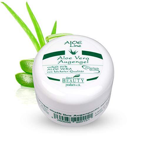 Aloe Vera Augengel - enthält 95% Bio Aloe Vera, Panthenol, Hyaluronsäure, Allantoin - Lindert Müdigkeitsfältchen, Schwellungen, strafft & pflegt die Haut - VEGAN / 1er Pack (1 x 15 ml)