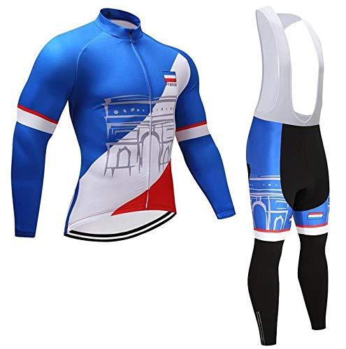 TOPBIKEB Fietsen Kleding Set voor Mannen, Lange Mouwen Fietsshirt met Bib Shorts voor Mountainbike