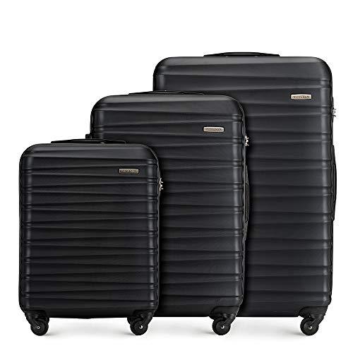 WITTCHEN Koffer – Set of 3 | hartschalen, Material: ABS | hochwertiger und Stabiler | Schwarz | Verschiedene Größen
