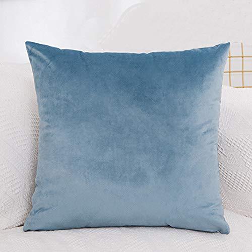Funda de cojín de terciopelo de lujo, funda de almohada sólida, azul, caqui, rosa, blanco, negro, funda de almohada decorativa para el hogar (color: azul oscuro)