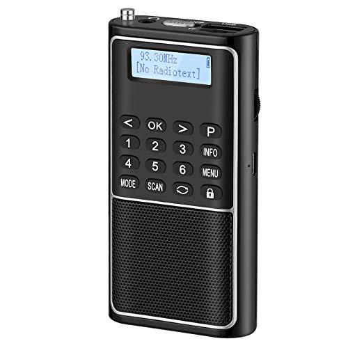 PRUNUS J-301 Radio Portatil Pequeña con Función de Preselección Manual,Radio Pequeña Dab/Dab+/UKW, USB/Tarjeta TF Reproductor,Batería Recargable y Teclas de Bloqueo,para Correr,Caminar,Viajar(Negro)