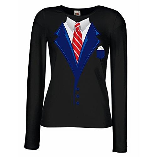 N4553M Mangas largas Camiseta de la Hembra Look Like a Boss! (X-Large Negro Multicolor)
