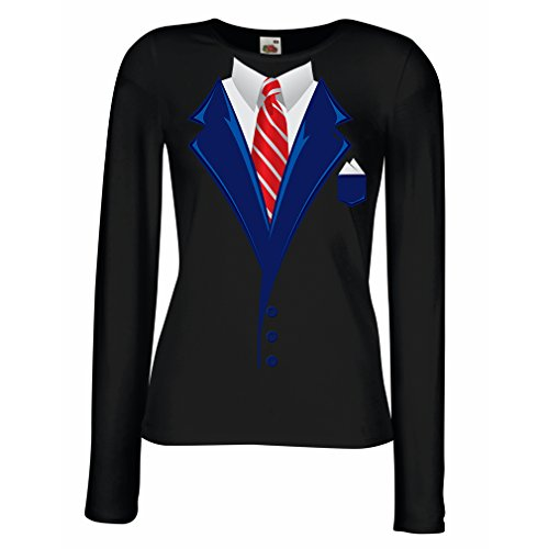 N4553M Mangas largas Camiseta de la Hembra Look Like a Boss! (Small Negro Multicolor)