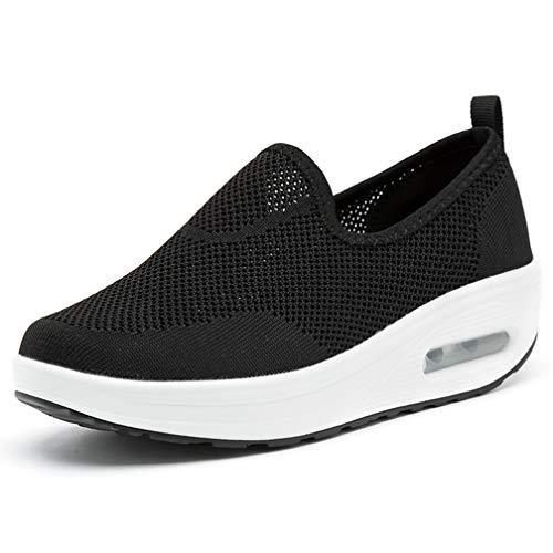 Hsyooes Shape Ups Zapatos de Mujer Andar Deporte Zapatilla de Deporte Plataforma Malla Running Zapatos Height-Increasing Sneaker