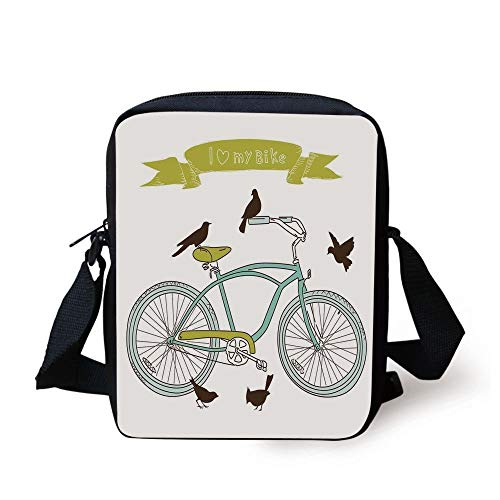 Bicycle,I Love My Bike Concept with Birds on The Seat Cruisers Basic Vehicle Simplistic Art,Green Blue Print Kids Crossbody Messenger Bag Purse
