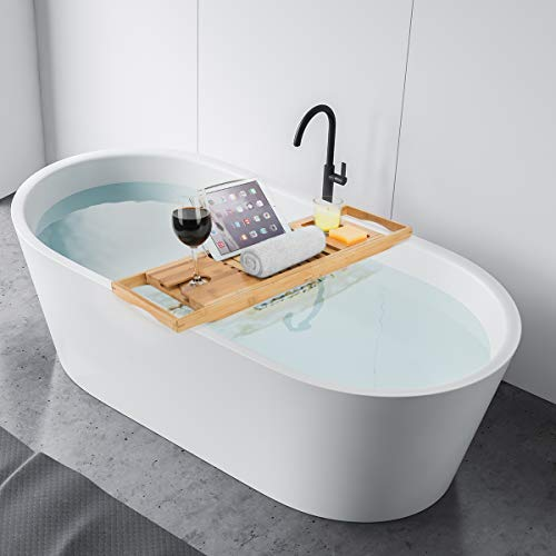 Relaxdays Bandeja Ba/ñera Ajustable con Atril Bamb/ú Beige 22x105x15 cm