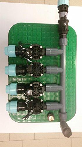 Verteiler vormontiert inkl. Rain Bird Magnetventil und Ventilbox Bewässerung, Anschluß 25 mm PE-Rohr (4 Zonen)