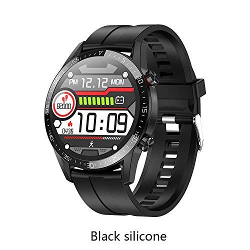 QXbecky Reloj Inteligente Bluetooth teléfono ECG PPGfrecuencia cardíaca, presión Arterial rastreador de EjerciciosIP68Impermeable Silicona Negra