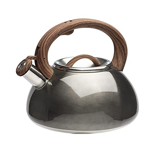 Primula Avalon Whistling Stovetop Tea Kettle Food Grade Stainless Steel Hot Water, Fast to Boil, Cool Touch Handle, 2.5 Quart, Gunmetal Grey and Wood Finish