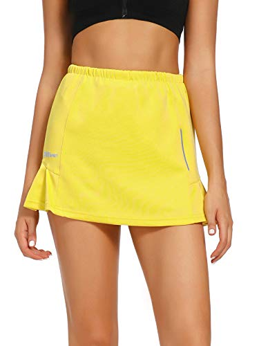 Asfixiado Women's Athletic Stretch Skort Tennis Skirts with Shorts for Running Tennis Golf Workout Sports #7752-Yellow,XL