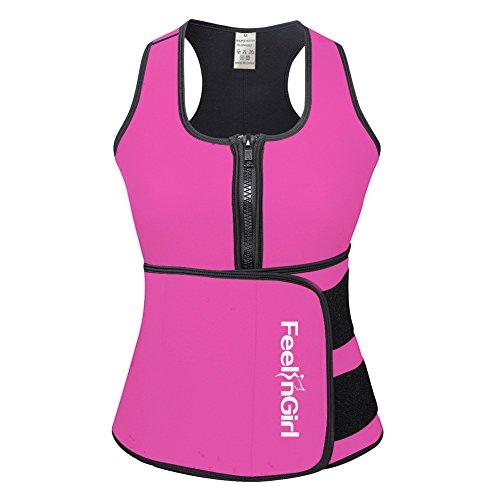 FeelinGirl Women's Vest Sport Girdle Waist Trainer Trimmer M Pink