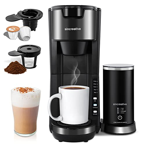 Coffee Maker with Milk Frother, Single Cup Coffee Machine for K Cup Pod and Ground Coffee Fast Brew Single Serve Coffee Maker, 6 to 14oz Brew Sizes Compact Coffee Brewer, Blue