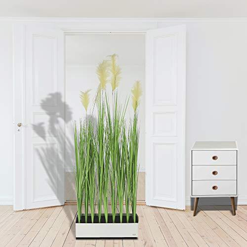 Dekogras Raumteiler Kunstgras Pampagras auf Metallfuß Höhe 150 cm