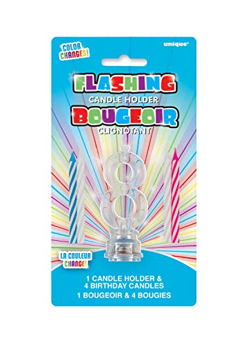 Unique Party 37538 - Candela di Compleanno Numero 8 Cambia Colore Lampeggiante Portacandela Con 4 Candele